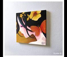 Peintures Acryliques, Mini peinture acrylique: papillon cuivré est une création orginale de Sybile-Art sur DaWanda