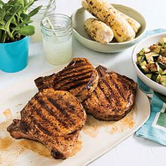 Paprika Pork Chops with Zucchini | Cooking Light #myplate #protein #veggies