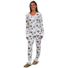 New Orleans Saints Ladies Uptown Henley Pajama Set - White
