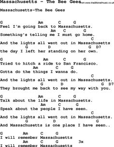Song Massachusetts by The Bee Gees, with lyrics for vocal performance and accompaniment chords for Ukulele, Guitar Banjo etc.