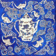 Blue Chinese Vase by KateKennedyArt on Etsy, $50.00