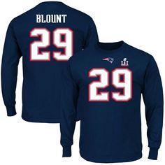 LeGarrette Blount New England Patriots Majestic Super Bowl LI Bound  Eligible Receiver Patch Name   Number Long Sleeve T-Shirt - Navy 303195986