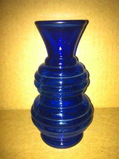 ART DECO VINTAGE DEPRESSION COBALT BLUE GLASS RIBBED DOUBLE BULB FLARED VASE | eBay