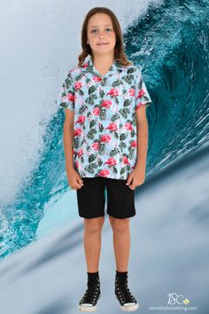 Popular boys hawaiian shirt - 'Flirty Flamingo'. We have a large range of this print for the whole family or group to match. Wicked shirt for casual, skating, book week, cruising, beach party, luau, fancy dress or halloween! #boyshawaiianshirt #cruiseshirt #luauparty #flamingoshirt #flamingoparty #christmasshirt #tackytourist #loudshirt #flamingo #blueshirt #boysflamingoshirt #matchymatchy #cruiseshirt #skater #skatershirt #casual #vacation #cottonshirt