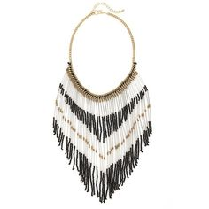 BP. Beaded Fringe Statement Necklace ($28) ❤ liked on Polyvore featuring jewelry, necklaces, fringe bib necklace, beading jewelry, bead jewellery, chevron necklace and beaded statement necklace