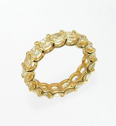 Diamond Ring Collection - 17 RADIANT CUT FANCY YELLOW DIAMOND BAND - 18K YELLOW GOLD - .29 CTS. EACH DIAMOND - FULL ETERNITY BAND - 17 DIAMONDS, VS2 - 4.90 CTS. TOTAL WEIGHT OF ALL DIAMONDS - SIZE 6 1