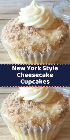 Your family's favorite food and drink ! New York Style Cheesecake Cupcakes When I make these people just RAVE about them! The crumbled graham crackers sprinkled on top add the flavor of a cheesecake base. Cheesecake Cupcakes, Cheesecake Recipes, Cupcake Recipes, Cupcake Cakes, Dessert Recipes, Food Cakes, Yummy Treats, Sweet Treats, Yummy Food