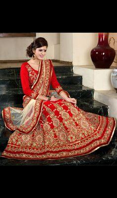 Red Embroidered Velvet Lehenga Choli Price: Usa Dollar $246, British UK Pound £144, Euro181, Canada CA$264 , Indian Rs13284.