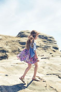 NellyStella Claudia Dress in Denim/Pink Tropical