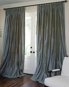 french door window treatment ideas - not drapes... Like the rod above
