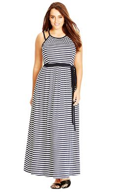 Plus Size Holiday Stripe Maxi Dress >>> Review more details here : Plus size dresses