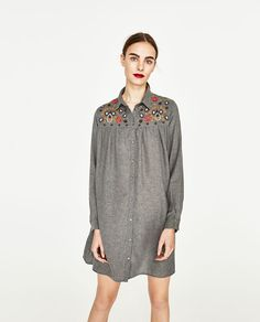 Image 2 of SHIRT DRESS WITH EMBROIDERY from Zara