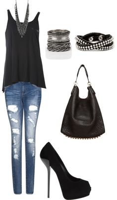 """Rocker Chick"" by mademoiselleshoe on Polyvore - THIS IS SOMETHING I WOULD WEAR ANYWHERE! minus the heels"