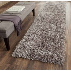 Safavieh Paris Shag 2'3 inch X 10' Hand Tufted Rug in Gray and Gray