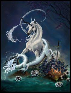 Dragon and Unicorn by ~mnedel on deviantART Unicorn Fantasy Myth Mythical Mystical Legend Licorne Enchantment Einhorn unicorno unicornio Единорог jednorožec Eenhoorn yksisarvinen jednorożca unicórnio Egyszarvú Kirin Unicorn Fantasy, Unicorn Horse, Unicorn Art, Magical Unicorn, Fantasy Art, Unicorn Pictures, Dragon Pictures, Dragon Images, Clydesdale
