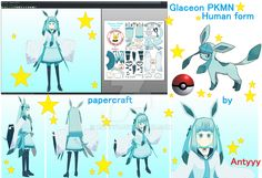 Glaceon (Human form) papercraft release by Antyyy.deviantart.com on @DeviantArt