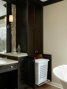 custom bathroom storage tower with hamper | built-ins | pinterest