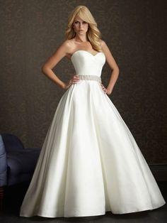 This. This is exactly what I want. A-line ballgown with a sweetheart neckline and beaded/crystal belt at the waistline. AND has a chapel length train!!!