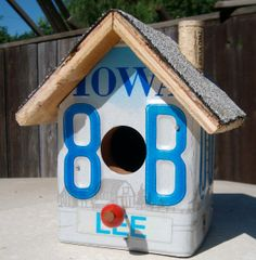 Lee Iowa License Plate Bird House by KingsburgCrafts on Etsy