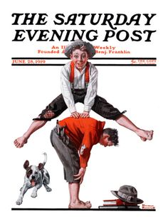 """""""Leapfrog"""" Saturday Evening Post Cover, June 28,1919 Giclee Print by Norman Rockwell at Art.com"""