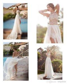 2015 Hot Julie Vino Summer Beach High Waist Empire Wedding Dresses A line Chiffon Side Slit Lace Halter Backless Court Train Bridal Gowns