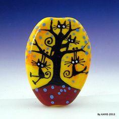 """Swinging Sweethearts"" Bykayo A Handmade Cat Lampwork Art Glass Focal Bead SRA"