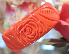 Vintage Bangle Lucite Carved Pink Coral Salmon Roses Plastic Retro Jewelry Circa 1960s 1970s Abstract Geometric Bracelet  Hip Boho Chunky