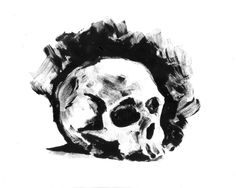 #printoctober #thedailysketch 10 min monoprint of a Skull. Have a great Halloween wherever you are :}>