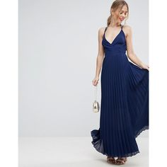 ASOS Wrap Front Pleated Maxi Dress (€52) ❤ liked on Polyvore featuring dresses, navy, prom dresses, navy blue dress, party dresses, tall maxi dresses and asos dresses