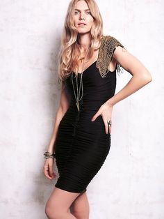 Black Embellished Shoulder Dress