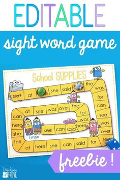 Sight word games that are editable can be used for any word work activity. Perfect for kindergarten and first grade students, it's so easy to make hands on games to help even your struggling readers learn their sight words. #sightwords #wordwork #centers #kindergarten #firstgrade