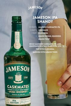 The traditional shandy is a simple sip, perfected over years of game days and tailgates. Our version features the added kick of Jameson Caskmates IPA Edition's crisp, hoppy notes and is perfect for your St. Patrick's Day plans. Liquor Drinks, Whiskey Drinks, Cocktail Drinks, Alcoholic Drinks, Cocktails, Beverages, Holiday Drinks, Summer Drinks, Jameson Drinks