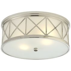 Shop for Visual Comfort SK Suzanne Kasler Traditional Montpelier Large Flush Mount in Polished Nickel with Frosted Glass at Foundry Lighting Flush Mount Lighting, Flush Mount Ceiling, Visual Comfort Lighting, Ville France, Circa Lighting, Bronze, How To Make Light, Frosted Glass, Polished Nickel