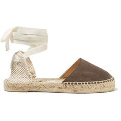 Manebi Hamptons suede espadrilles ($100) ❤ liked on Polyvore featuring shoes, sandals, brown, brown shoes, lace up sandals, brown lace up shoes, tie shoes and manebi espadrilles
