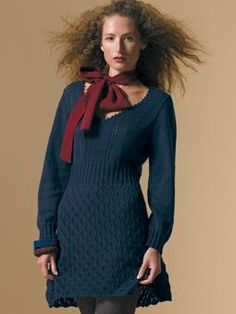 Vali - long sleeved dress (Wool Cotton 4Ply) - I wonder if I could make this longer to the knee.