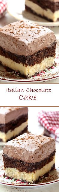 Italian Chocolate Cake / by No Cook Desserts, Just Desserts, Delicious Desserts, Yummy Food, Simply Recipes, Sweet Recipes, Cake Recipes, Dessert Recipes, Italian Chocolate