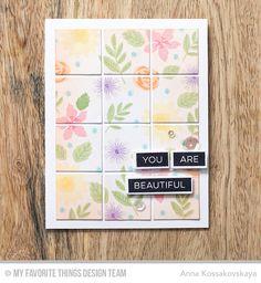 Mini Modern Blooms, Label Maker Sentiments, Label Tape Die-namics, Mini Modern Blooms Die-namics, Square Grid Cover-Up Die-namics - Anna Kossakovskaya #mftstamps