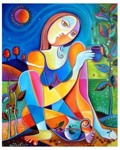 Hand embellished Giclee Print on canvas of my original Exhibited Oil Painting MUSE OF COFFEE  Marlina Vera Cubist Abstract Gallery 20x24