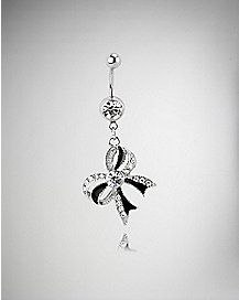 14 Gauge Cz Bow Dangle Belly Ring