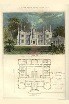 Buyenlarge 'Tudor Manor House Henry VIII Style' by Richard Brown Painting Print Size: Casas Tudor, Vintage House Plans, Victorian House Plans, English Manor, English Estates, English Countryside, Brown Art, Tudor History, Abandoned Mansions