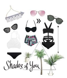 """""""Shades of You: Sunglass Hut Contest Entry 2"""" by nclanne ❤ liked on Polyvore featuring Hervé Léger, Miu Miu, Giorgio Armani, NDI, Allstate Floral, Pier 1 Imports, Menu, Mikoh, Seafolly and shadesofyou"""