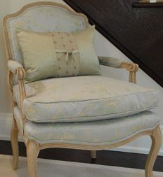 Sarah Richardson - Design Inc. - Season 4 (Marjorie's Living Room) Paint wood on French chairs? Sarah Richardson, French Rococo, Pinterest Home, Bergere Chair, Character Home, French Chairs, Living Room Paint, Chair Fabric, Season 4