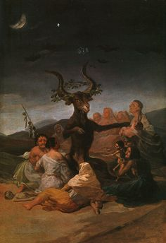 """Witches Sabbath"" 1798 by Francisco de Goya  I chose this piece because the color of it shows the scariness of the meaning and importance behind it. This artist helped create dark feelings by using dark colors."