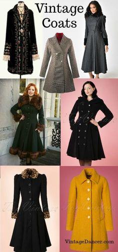 Vintage coats : faux fur, swing coats, tweed coats 20s, 30s, 40s, 50s 60d styles at VintageDancer.com
