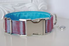 Pink Blue Dupioni Silk Dog Collar With Blue by TwistedPetDesigns, $23.00