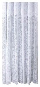 Ricardo Romance Lace White Fabric Shower Curtain With An Attached Valance