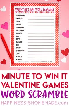These Valentine games are perfect for all ages - challenging enough for older kids and adults, but still simple enough that younger children can join in the fun! Valentines Games For Couples, Valentine Games, Valentines Day Words, Valentine Activities, Valentines Gifts For Boyfriend, Valentines Day Party, Valentines For Kids, Valentine Ideas, Valentine Box