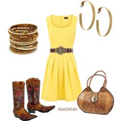 Yellow dress, brown cowgirl boots....