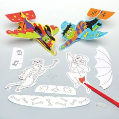 Halloween Colour-in Gliders Halloween Treats For Kids, Halloween Crafts, Halloween Coloring, Toy Craft, Gliders, Craft Supplies, Colour, Toys, Color