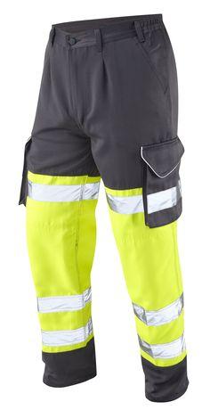 "Hi Vis Cargo Trousers Large size Yellow/Grey 42-54"" waist, Long, Regular, Short Leg"